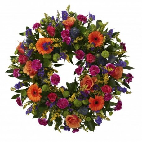Vibrant loose wreath tribute